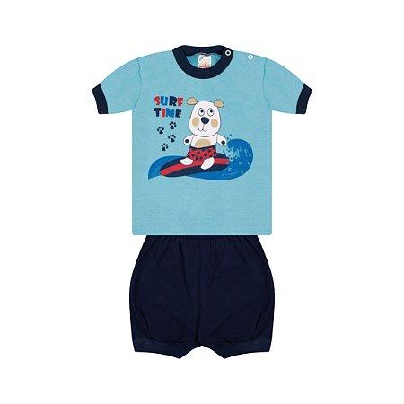 Pijama Menino Meia Manga Meia Malha - Celeste com Marinho