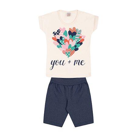 Conjunto Menina Cotton Jeans Meia Malha Fio 30/1 - Marfim com Jeans