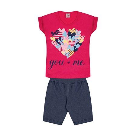 Conjunto Menina Cotton Jeans Meia Malha Fio 30/1 - Cereja com Jeans