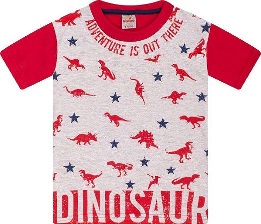 Camiseta Menino Meia Malha Fio 30/1 - Mescla com Vermelho