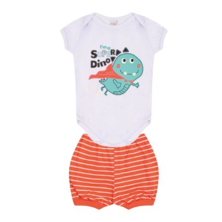 Conjunto Body Pijama Menino Meia Malha - Branco com Coral