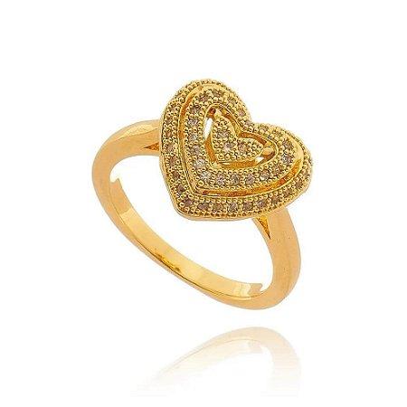 Anel Coração com Ziircônias Folheado a Ouro 18k