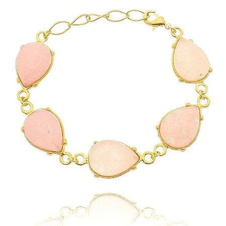 Pulseira Pedra Quartzo Rosa Folheada a Ouro 18k