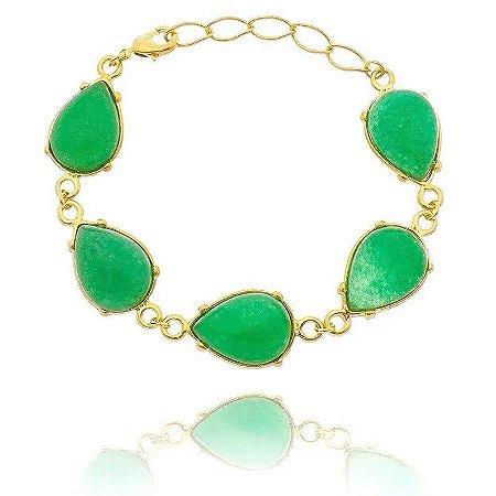 Pulseira Pedra Jade Verde Folheada a Ouro 18k