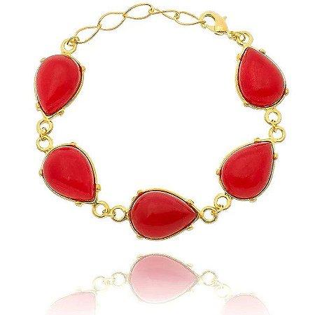 Pulseira Pedra Jade Vermelha Folheada a Ouro 18k
