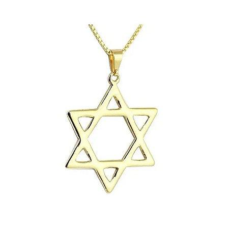 Colar Estrela de Davi Folheado a Ouro 18k - 06613