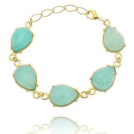 Pulseira Pedra Jade Azul Folheada a Ouro 18k
