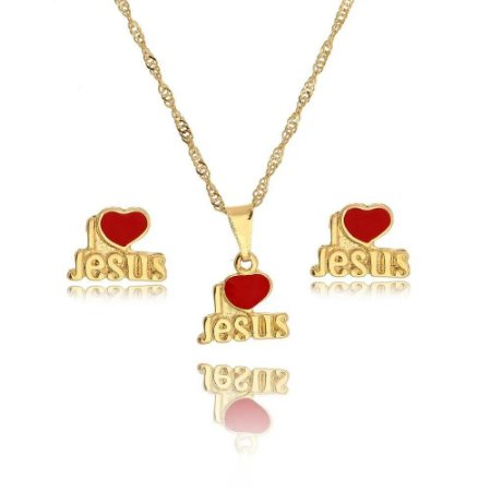 CONJUNTO INFANTIL I LOVE JESUS FOLHEADO A OURO 18K - 09390