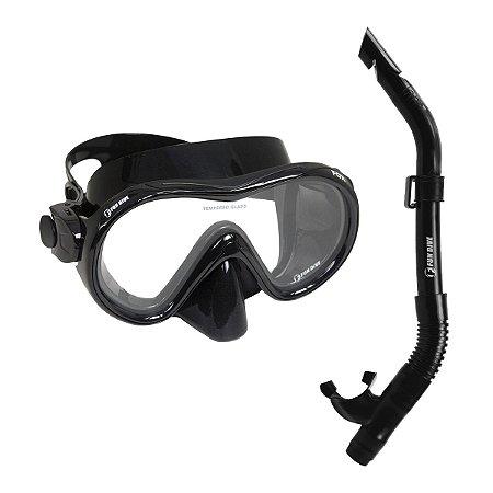 Kit Brasil Fox Fun Dive, Máscara Snorkel SK-09 para Mergulho