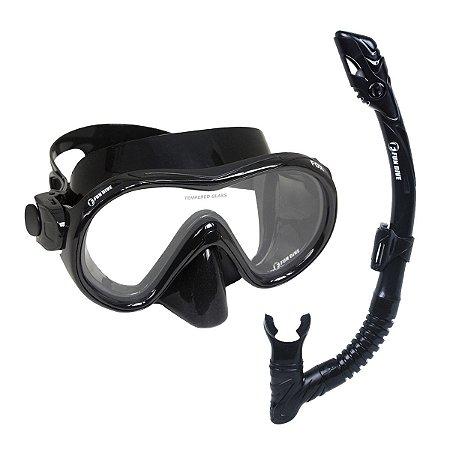 Kit Dry Fox Fun Dive, Máscara Snorkel Dupla Válvula Mergulho