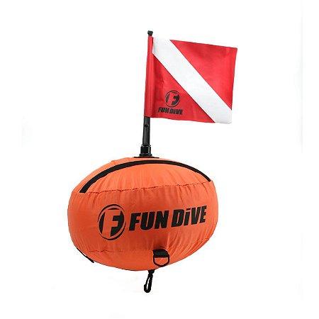 Bóia-01 R Fun Dive - Bóia Redonda de Marcação com Bandeira p/ Mergulho