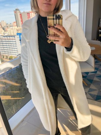 Casaco Maxi Coat Off White - pelo alto