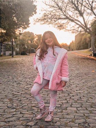Casaco Teddy Reversível Infantil rosa algodão doce + branco