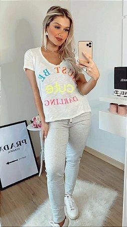 T-shirt Flamê com escrita Neon