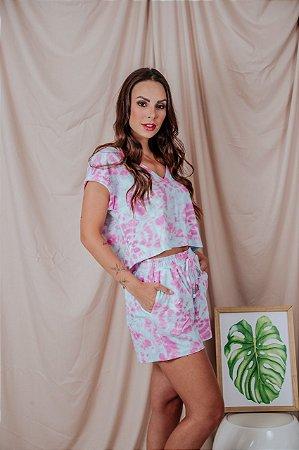 Conjunto Cropped + Short Tie Dye rosa