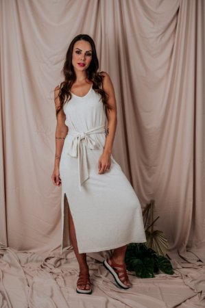 Vestido Regata Canelado Natural