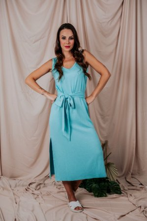 Vestido Regata Canelado Azul