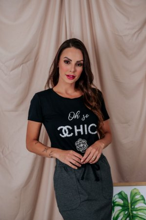T-Shirt Oh So CHIC pretinha bordada