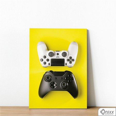 Placa Decorativa Controle Black White Fundo Amarelo