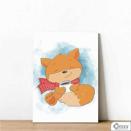 Placa Decorativa Fox Drinking Chocolate