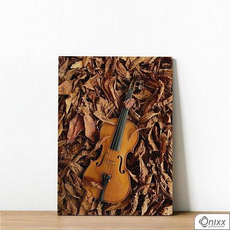 Placa Decorativa Violino Nas Folhas