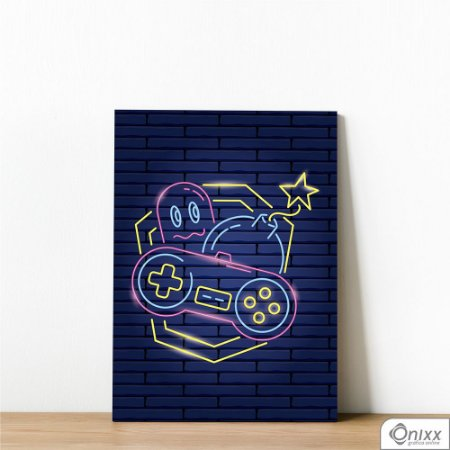 Placa Decorativa Série Neon Classic Joystick