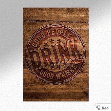 Placa Decorativa Good Drink In Wood A4