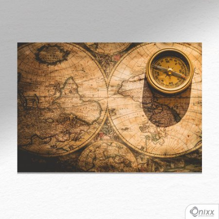 Placa Decorativa Old Map & Compass A4