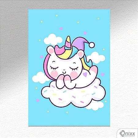 Placa Decorativa Unicorn Blue Stars A4