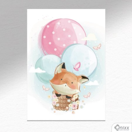 Placa Decorativa Fox Flying Balloon A4