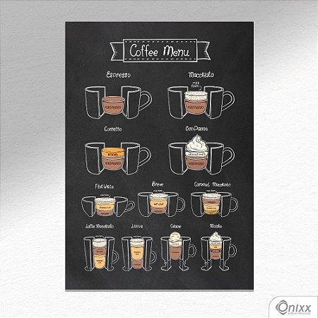 Placa Decorativa Coffee Menu A4