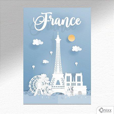 Placa Decorativa Série Papercut France A4