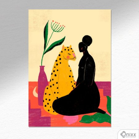 """Placa Decorativa """"A mulher e a Onça"""" A4"""