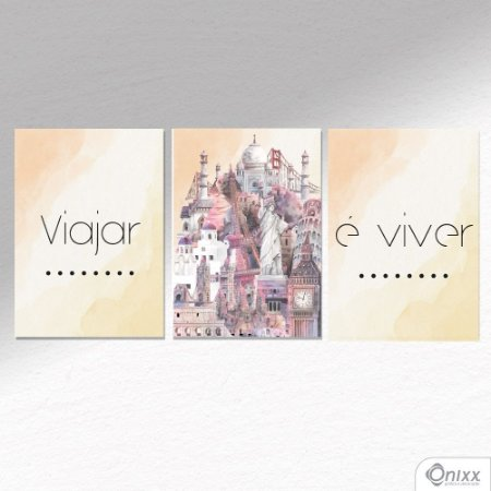 Kit de Placas Decorativas Viajar e Viver A4