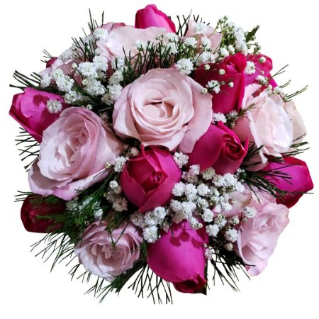 Buquê com 08 Rosas Cor de Rosa e 12 Rosas Pink Nacionais