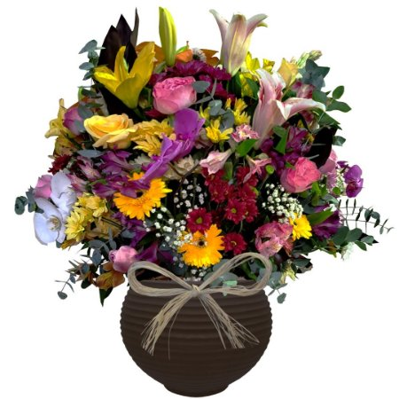 Arranjo Mix de Flores Nobres No Vaso Redondo