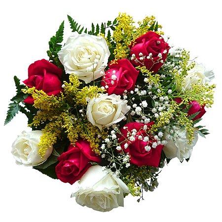 Buquê com 12 Rosas, Sendo 06 Brancas e 06 Vermelhas Nacionais