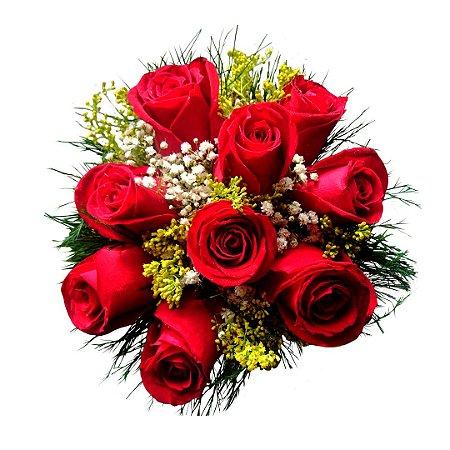 Mini Buquê Com 09 Rosas Nacionais