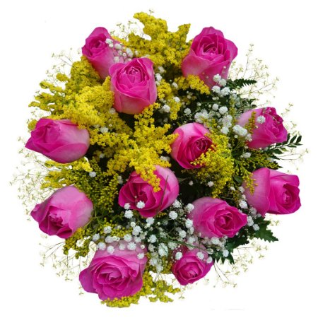 Buquê com 12 Rosas Cor de Rosa Nacionais