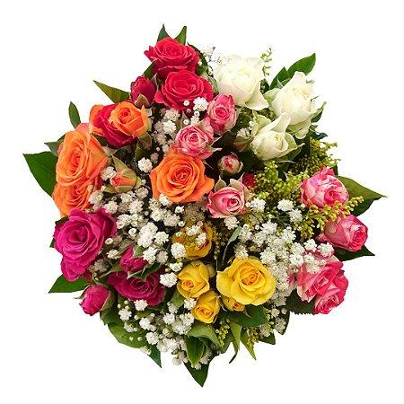 Mini Buquê com Mini Rosas Coloridas