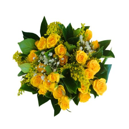 Mini buquê com Mini Rosas Amarelas