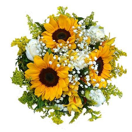 Buquê com Girassol, Rosas Brancas e Astromélias