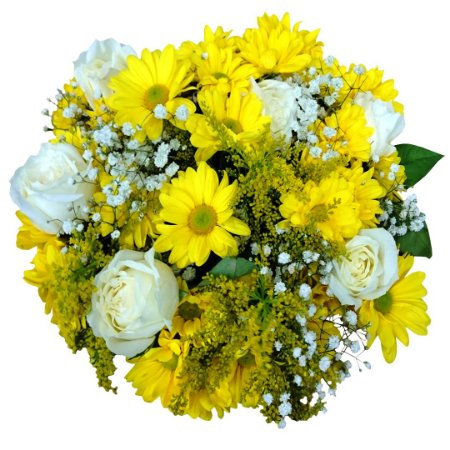 Buquê com Margaridas Amarelas e Rosas Brancas