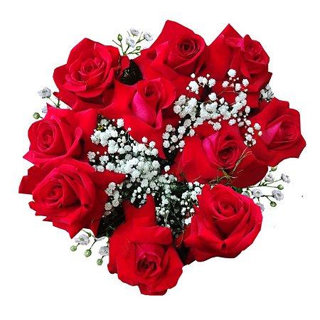 Buquê com 10 Rosas Colombianas Vermelhas