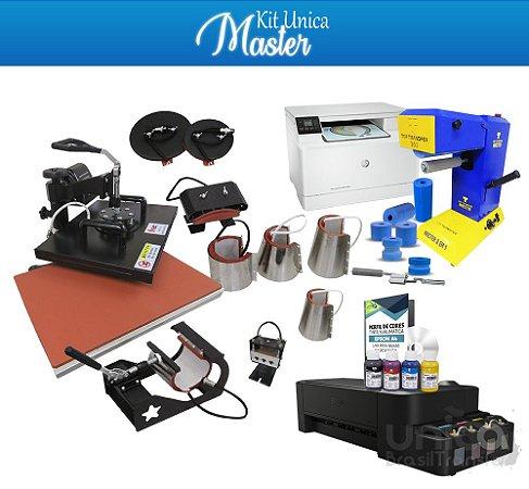 Kit Unica Master Top Transfer Master 8 Em 1 + Impressora á Laser + Prensa 8 em 1 + Impressora Sublimatica