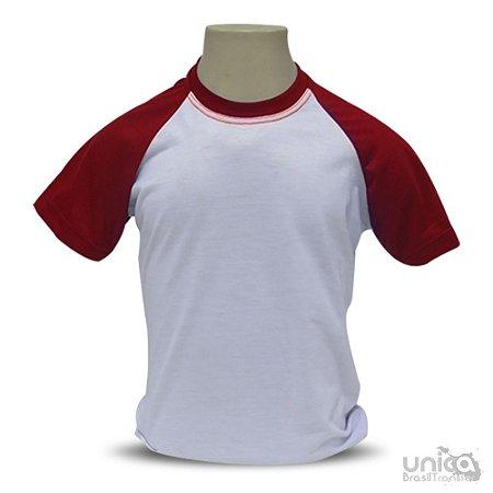 Camiseta Raglan Infantil Vermelha Para Sublimação - 100% Poliéster