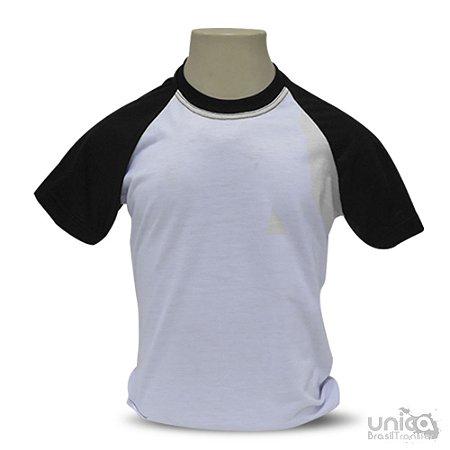 Camiseta Raglan Infantil Preto Para Sublimação - 100% Poliéster