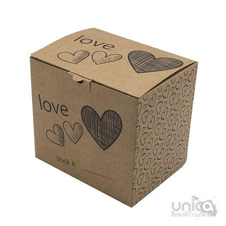 Caixinha Kraft Coração Para Caneca - 12 Unidades