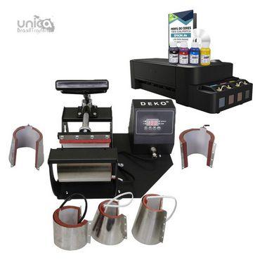 Kit Pérola Para Sublimação Prensa 6 em 1 + Impressora