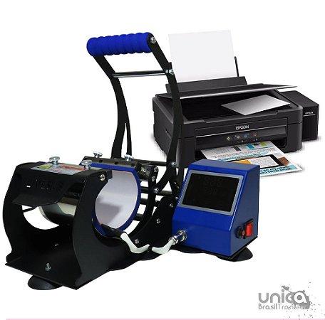Prensa cilíndrica Livesub com painel touch screen + Impressora sublimatica